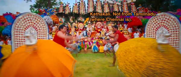 I could be wrong, this song could be about Kerala (Where Kathakali is from, Shetty)